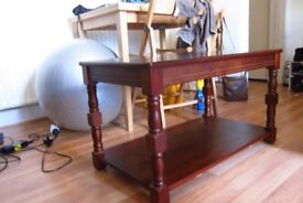 Small two-tier coffee table, mahogany colour