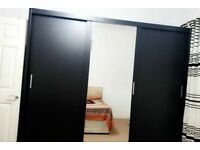 SALE ON-New Berlin Wardrobe in Black White Grey and Walnut Color 120 cm 150 cm 180 cm and 203 cm