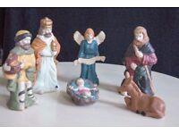Christmas Decorative Porcelain Nativity Figures, Jesus, Angel, Two Kings, One Shepherd and a Donkey
