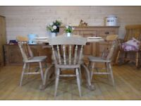 Farmhouse rustic solid waxed pine oval table and 4 chairs