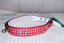 BRAND NEW Red Diamante Dog Collar for Medium Dog, Histon