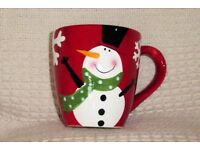 Large NEW One Pint Christmas Mug with Picture of Jolly Snowman and Snowflakes, Histon
