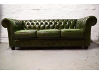 Antique green leather three seater chesterfield sofa (DELIVERY AVAILABLE)