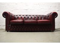Antique red Chesterfield 3 seater sofa (DELIVERY AVAILABLE)
