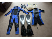 Lad'ys & Gent's good condition Wetsuits and all Snorkelling accessories