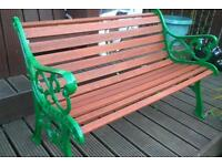 Cast iron and solid wood bench