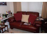 Deep Burgundy Leather Sofa
