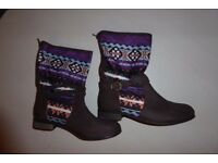 Joe Browns Boots: Ankle Boots with Aztec Design Ladies Size 6