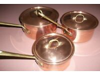 SET 0F 3 COPPER PANS WITH BRASS HANDLES AND LIDS