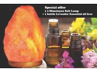 Natural Himalayan Rock Salt Lamp On Wooden Base with Free Essential oil.
