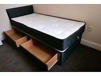 ❤❤Single Bed w Mattress, Headboard &Drawers Optional❤❤Strong 3FT Divan Base in Black, White & Cream❤