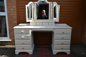 Original Ducal Solid Pine Dressing Table & Mirror