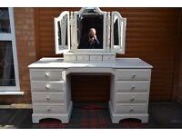 Original Ducal Solid Pine Dressing Table & Mirror
