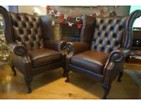 chesterfield pair of Wingback leather armchairs