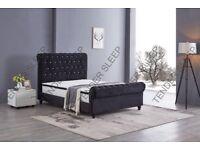 🔥💗🔥FLASH SALE UPTO 70% OFF🔥💗🔥BRAND NEW DOUBLE/KING DIAMOND NORMAL VELVET SLEIGH BED & MATTRESS