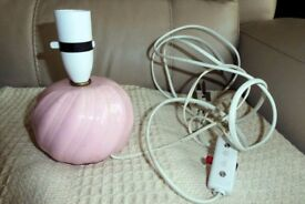 Pale Pink Bedside Light/Table Lamp Base which also has On/Off Switch on Cord, Fully Working, Histon
