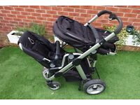 iCandy Apple 2 Pear Black Travel System Double Seat Pram
