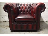 Antique red chesterfield club chair (DELIVERY AVAILABLE)