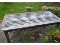 Weathered wooden garden table
