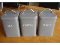 Tea, Coffee and Tea Containers in Grey