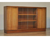 Retro 1960's Long Low Teak Glass Sliding Door Bookcase Cabinet With Cupboards