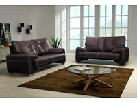 Fix sofa 3 and 2 seater black or chocolate/dark brown modern design pu leather SALE was £399