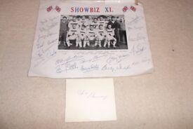 Showbiz XI photo from 1958 with facsimile signatures and original genuine Jimmy Henney signature