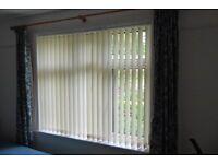 Vertical window blind, off white.
