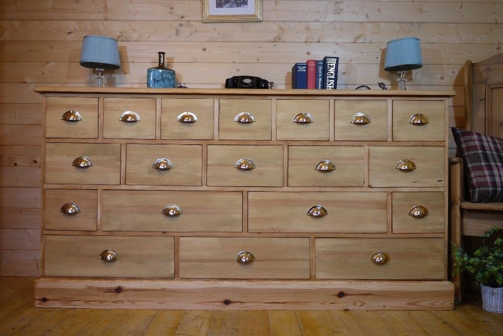 Completely new Very Large rustic solid waxed pine wood19 multi drawer Sideboard  OD16