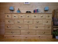 Very Large rustic solid waxed pine wood19 multi drawer Sideboard chest drawers