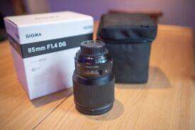 Sigma 85mm 1.4 Art Lens Nikon mount