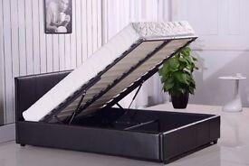 DOUBLE BED WITH SUPREME ORTHOPAEDIC MATTRESS IN BLACK BROWN AND WHITE COLOUR