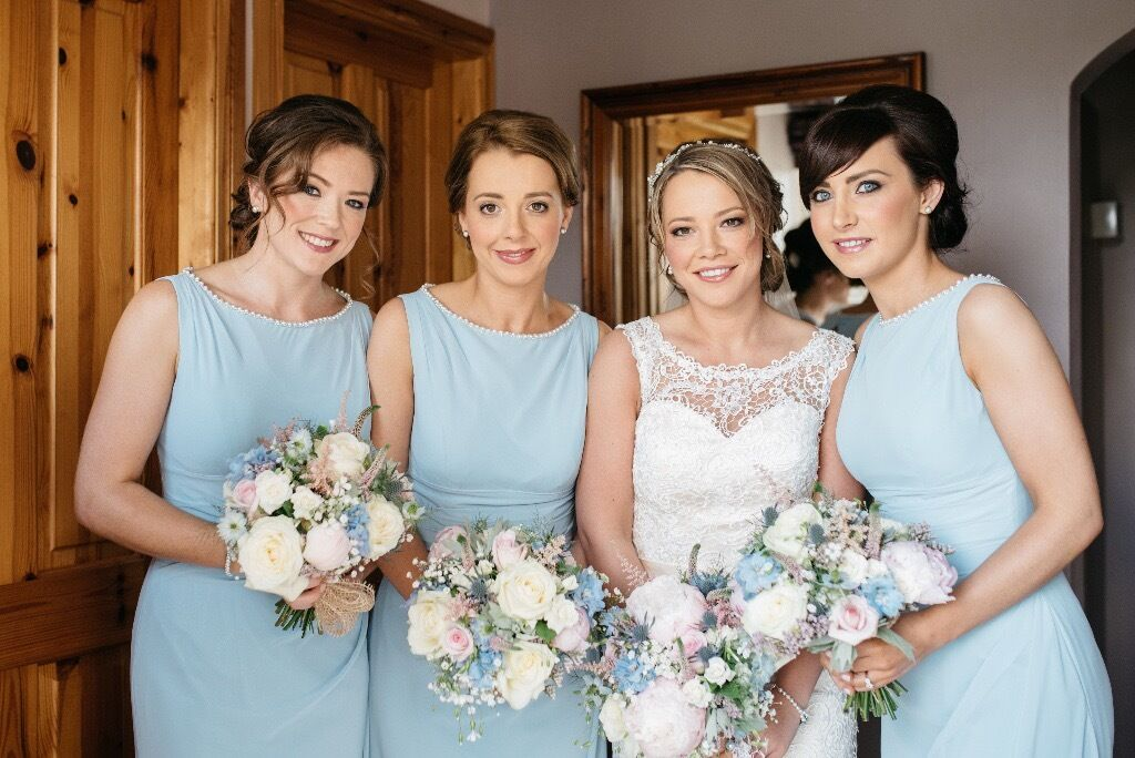 3x True Bride Bridesmaid Dresses In Dark Powder Blue 2x Size 10 1x 8