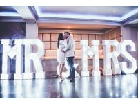 "LED ""MR&MRS"" LETTERS for hire / Led Dance Floors / Photo Booths + more / Essex & London"