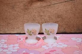 Arcopal Pink Rose Egg Cups retro vintage