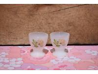 Arcopal Pink Rose Egg Cups retro vintage