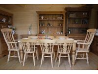 Farmhouse solid waxed pine table 8 chairs inc carvers, 8 seater large pine table