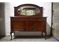 Mahogany sideboard with oval bevelled mirror (DELIVERY AVAILABLE)