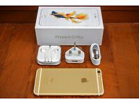 APPLE IPHONE 6S PLUS 128GB, GOLD, UNLOCKED TO O2, GIFF GAFF, TESCO, BOXED IN MINT CONDITION