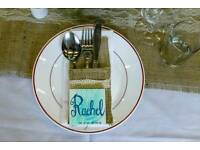 70x Hessian and lace cutlery holders for wedding