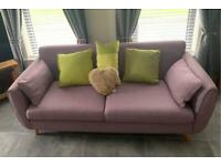 FURTHER REDUCED Designer lavender 3 + 3 + 1 Suite retro style with solid oak feet
