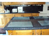 black glossy galaxy design worktops and splash backs in good used condition