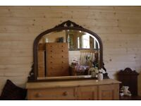 Beautiful elegant dark wood large arched detailed over mantel ornate mirror