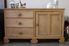 Old very rustic farmhouse waxed solid pine sideboard, cupboard, dresser, cabinet