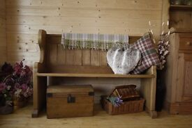 Lovely farmhouse rustic solid pine church pew, monks bench, settle, hall seat