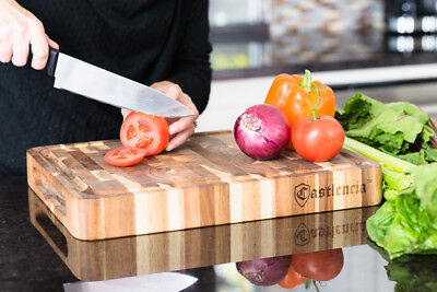 Castlencia Premium Thick Acacia Wood Cutting Board Butcher Block with Groove