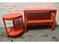 1960's Two Tier Acrylic Book Shelf With Matching Circular Table (DELIVERY AVAILABLE)