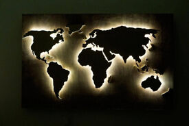 Wood World Map wall art, Flat earth, LED world map as wall decor and art decoration for wall hanging
