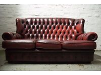 Antique Red Chesterfield Sofa With Armchair (DELIVERY AVAILABLE)
