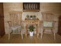 Pair farmhouse raw pine /beech tall Windsor fiddleback fireside carver arm chair